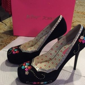 Betsey Johnson Nox Black Suede Shoes
